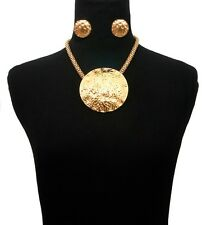Egyptian BIG ROUND Pendant Statement Necklace & Earrings MAGNETIC Chain ~ GOLD