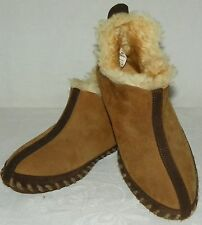 Cabelas Womens Shearling Sheepskin Leather Slippers Moccasin Insulated Size 6 M