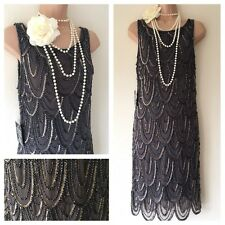 NWT Pissarro Nights Embellished Gatsby 20's Beaded Sequin Flapper Dress 10 Deco