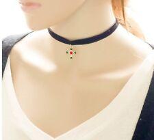 2016 Gothic Velvet Leather Cross Women Choker Neck Black Necklace Pendant AJ