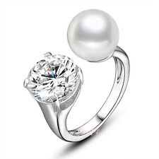 Adjustable pearl CZ crystal Cocktail ring Silver Tone Wedding Ring Xmas Gift