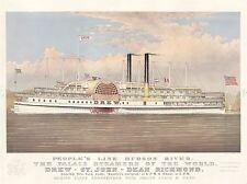 ADVERT SHIP CRUISE TRAVEL HUDSON RIVER STEAMER BOAT DREW NEW YORK POSTER LV253