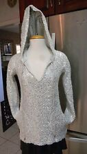 BOSTON PROPER SPORT SZ XS GRAY SILVER SEQUIN LONG SLEEVE HOODIE V NECK PULL OVER
