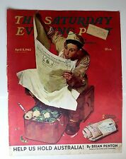 Authentic April 11, 1942 Saturday Evening Post Cover Norman Rockwell