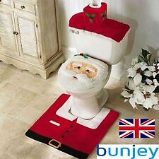 3 Pieces Christmas Decorations Happy Santa Toilet Seat Cover Rug Bathroom Set UK