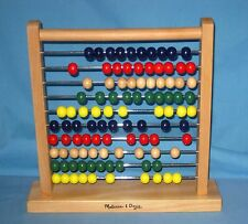 Melissa & Doug Wood Abacus Learning Counting Frame Beads Developmental Toy 493!