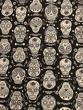 Timeless Treasures Glow In The Dark Skulls Fabric Material by 1/4 of a METRE W44