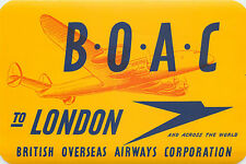 To LONDON ~BRITISH OVERSEAS AIRWAYS CORP / BOAC~ Old Airline Luggage Label, 1955