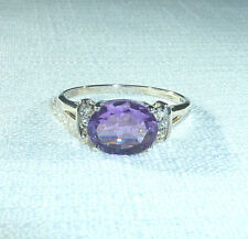 2.40ct Genuine Amethyst/White Topaz Solid 925 Sterling Silver Ring US(10) AU(T)