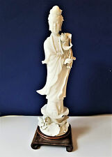 Blanc De Chine Kwan Yin Statue Porcelain Mint Cond. Vintage Free Shipping!