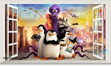 Penguins of Madagascar 3D Window View Wall Decals Kids Decor Nursery Stickers