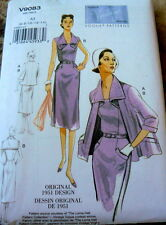 1950s VOGUE VINTAGE MODEL DRESS & JACKET SEWING PATTERN 6-8-10-12-14 UC