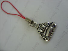 A Red Cord Tibetan Silver Chinese Lucky Buddha Budda Mobile Phone  / Bag Charm