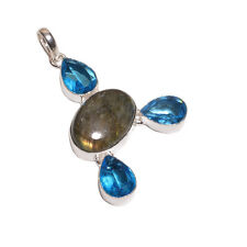 925 Sterling Silver Overlay Blue Topaz & Labourite Stones Pendant Necklace Chain