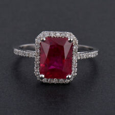 Diamond & Ruby Halo Ring Emerald Cut 9x7mm in Solid 14K White Gold For Women