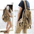 Men's Vintage Canvas School Travel Hiking Backpack Rucksack Shoulder Bag Satchel