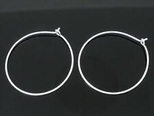 75 SILVER PLATE ~25mm~ WINE GLASS CHARM RINGS/EARRING WIRE~HOOPS~Wedding (W3)UK