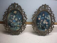 Vintage Pair Oval Metal Ornate Picture Frame Convex Bubble Glass Flowers