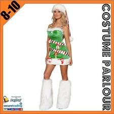 Womens Ladies Christmas Tree Xmas Fancy Dress Santa Costume Size 8 - 10