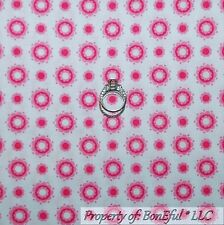 BonEful Fabric FQ Cotton Quilt White Pink Sm Flower Dot Stripe Baby Girl Calico