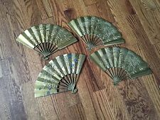 Vintage Oriental Brass Decorative Fans for Wall - Lot of 4