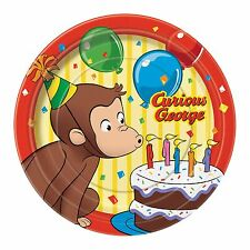 8 Curious George Childrens Birthday Party 7in Paper Plates