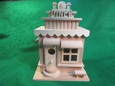 Unfinished Wood Decorative (DINER) Birdhouse with Screen Windows