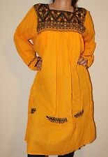 Yellow Handmade Chiapas Mexican Dress Mayan Back Strap Loom 100% Gauze Cotton M