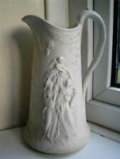 Large 1800s Staffordshire relief moulded pottery jug Classical figures