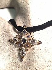 Gothic Vintage Genuine  Blue Iolite Cross 925 Gold Sterling Siilver Pendant