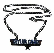 "ICED OUT TAYLOR GANG PENDANT &24"" FIGARO CHAIN WIZ KHALIFA NECKLACE SMALL MSP290"