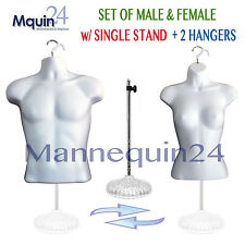 SET of MALE & FEMALE TORSO MANNEQUIN FORMS *WHITE + 1 STAND + 2 HANGERS