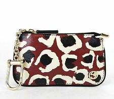 NEW Authentic GUCCI Leopard Print Leather Clip Key Case Pouch Red 233183 6268