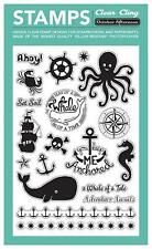 October Afternoon Pirate TREASURE MAP 19-pc Clear Stamps Cling NEW!
