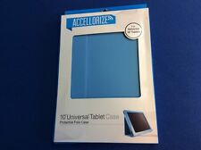 "Protective Folio Case, 10"" universal tablet case, durable, stand up view, blue"