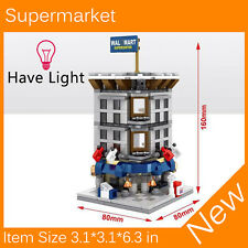 Mini Street View Building Block Supermarket Have Light SD6502