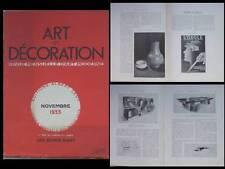 ART ET DECORATION - NOVEMBRE 1933 - ROBERT BLOCK, JEAN CARLU, EMILE DECOEUR