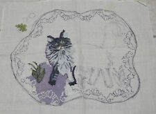 """Rug Hooking Burlap Linen Pattern CAT 28"""" x 36"""" Started Unknown Brand"""