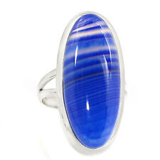 Blue Botswana Agate 925 Sterling Silver Ring Jewelry s.8 SR200096