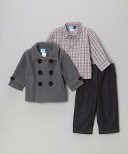 GOOD LAD® Boys' 18M Gray Peacoat, Plaid Shirt & Pant Set NWT $58