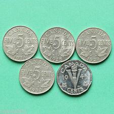 1924 - 1928 - 1929 - 1930 - 1945-Canada - 5 x 5 CENT-sno36986