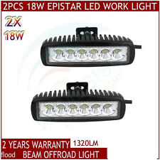 2x 18W 6 inch LED Light Bar Flood Driving Light for ATV 4WD Jeep Off road Truck