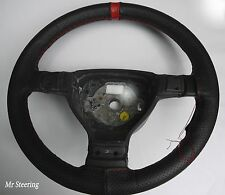 FITS 98-06 SMART FORTWO W450 PERFORATED LEATHER STEERING WHEEL COVER + RED STRAP
