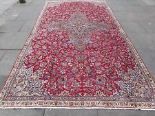 Old Shabby Chic Hand Made Traditional Persian Oriental Wool Red Carpet 380x214cm