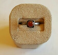 Vintage Estate Sterling Silver Carnelian Modernist Ring ~ Size 5 3/4