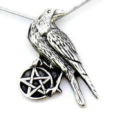 Magic Crow Raven Star Pentacle Pentagram Wicca Wiccan Pagan Pewter Pendant Charm