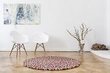 myfelt Lotte 70 cm Design Teppich rund 100% Wolle Filzkugelteppich Kinderteppich