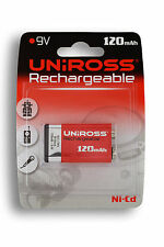 UNIROSS 9V NI-CD 120mAH  1000x + RECHARGEABLE BATTERY