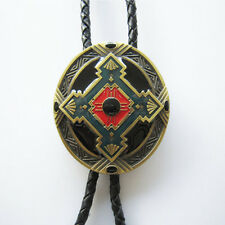 Western/Southwestern Enameled Bolo Tie Braided 4MM Leather Cord W/Engraved Tips