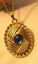 Handsome Ripple Rim Goldtone Lattice Textured Shiny Blue Center Pendant Necklace